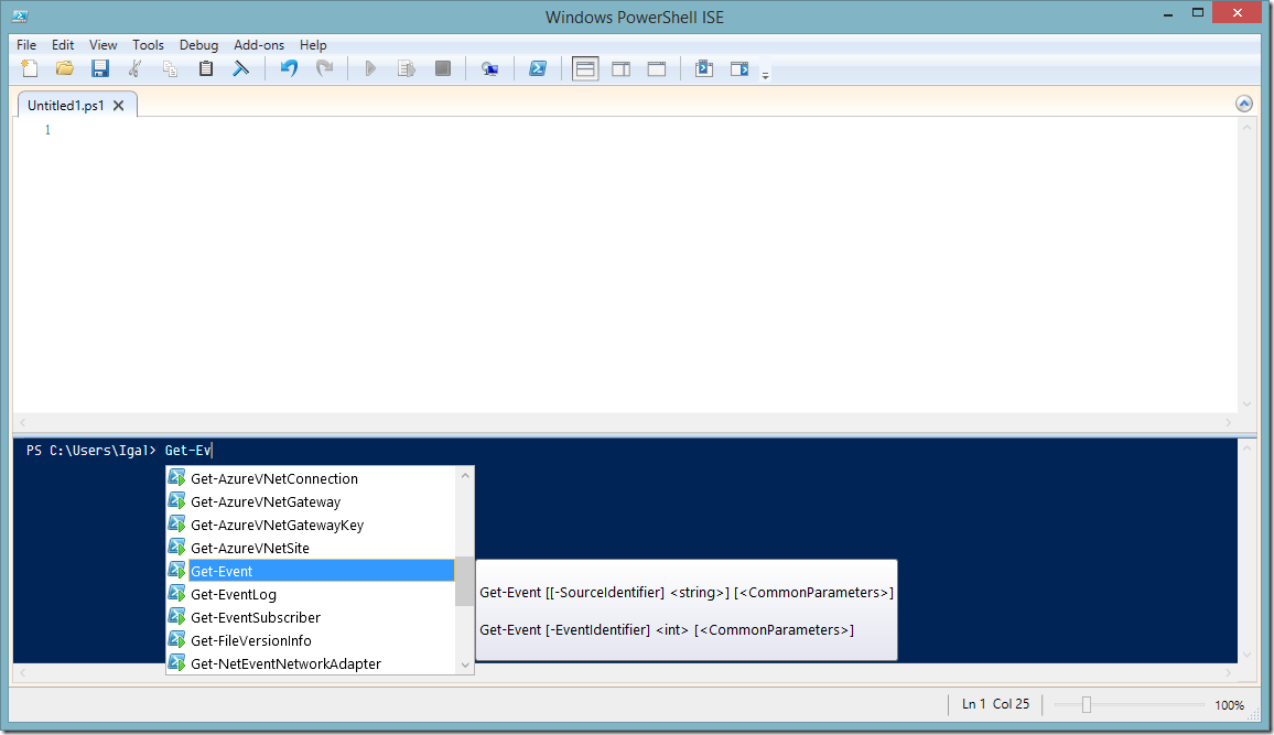 Figure 1: PowerShell ISE – an IDE for PowerShell with code completion (IntelliSense) and an integrated debugger.
