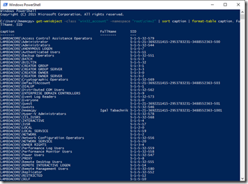 Listing output in PowerShell